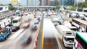 Lapso de tiempo del atasco de la hora punta de Hong Kong China Enfoque hacia fuera almacen de metraje de vídeo