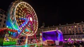 Lapso de tiempo del festival de la ciudad de Dresden en la noche almacen de video