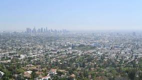 Lapso de tiempo del horizonte de Los Angeles almacen de metraje de vídeo