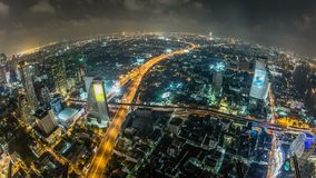 Lapso de tiempo del paisaje urbano de Bangkok Fisheye almacen de metraje de vídeo