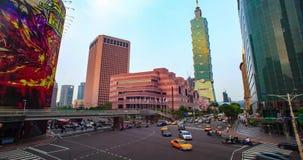 Lapso de tiempo del paisaje urbano de Taipei en el crepúsculo en la ciudad de Taiwán almacen de metraje de vídeo