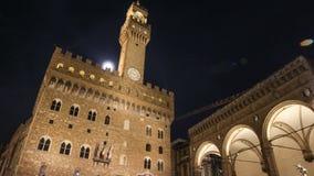 Lapso de tiempo del Palazzo Vecchio, ayuntamiento, en Florencia, Italia almacen de metraje de vídeo
