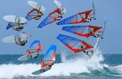 Lapso de tiempo del salto del windsurf fotografía de archivo libre de regalías