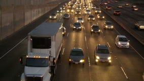 Lapso de tiempo del tráfico de la autopista sin peaje de Los Ángeles - clip 3 almacen de video