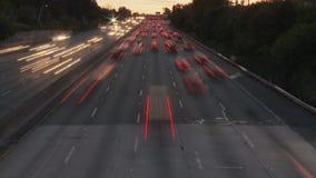 Lapso de tiempo del tráfico de la autopista sin peaje de Los Ángeles - clip 7 almacen de video