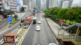 Lapso de tiempo del tráfico en Hong Kong Freeway ocupado almacen de video