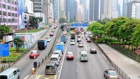 Lapso de tiempo del tráfico en Hong Kong Freeway ocupado almacen de metraje de vídeo