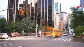Lapso de tiempo del tráfico 4k de la luz del día del círculo de Columbus de Nueva York