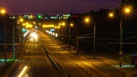 Lapso de tiempo del tráfico de la noche Camino de la noche almacen de metraje de vídeo