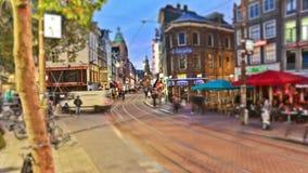 Lapso de tiempo del tráfico peatonal de la ciudad Amsterdam metrajes