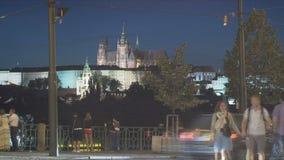 lapso de tiempo del tráfico, Praga almacen de video