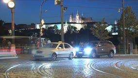 lapso de tiempo del tráfico, Praga almacen de metraje de vídeo