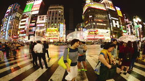 Lapso de tiempo - distrito del entretenimiento de Shinjuku en la noche - Tokio Japón almacen de video