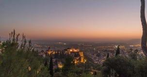 Lapso de tiempo en el La Alhambra en Granada España almacen de video