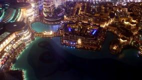Lapso de tiempo famoso de la fuente 4k de Dubai de la música de la noche almacen de video