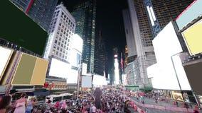 Lapso de tiempo famoso de la vida 4k de la luz de la noche del Times Square de New York City almacen de metraje de vídeo