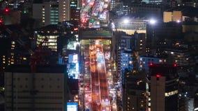 Lapso de tiempo de la autopista metropolitana no L?nea y ciudad de 3 Shibuya en la noche en Tokio, Jap?n metrajes