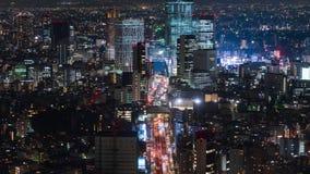 Lapso de tiempo de la autopista metropolitana no L?nea y ciudad de 3 Shibuya en la noche en Tokio, Jap?n almacen de metraje de vídeo