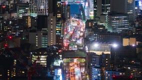 Lapso de tiempo de la autopista metropolitana no L?nea y ciudad de 3 Shibuya en la noche en Tokio, Jap?n almacen de video