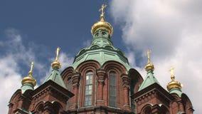 Lapso de tiempo de la catedral Helsinki de Uspenski almacen de metraje de vídeo