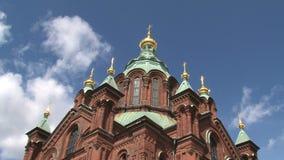 Lapso de tiempo de la catedral Helsinki de Uspenski almacen de video