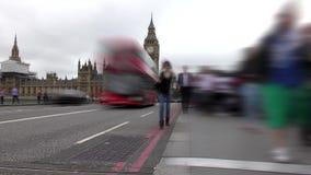 Lapso de tiempo Londres Camino y acera en Big Ben almacen de video