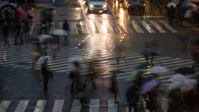 Lapso de tiempo Travesía de Shibuya en la lluvia con los paraguas almacen de video