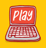 Laptip computer with play word on screen Royalty Free Stock Images