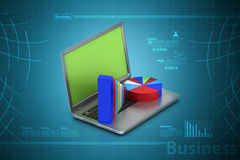 LaptLaptop showing a statistic charts. Laptop showing a statistic charts in color background Stock Images