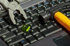 laptopów łamani młoteczkowi cążki Zdjęcia Stock