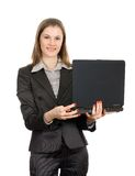 laptop życzliwa odosobniona biała kobieta zdjęcie stock