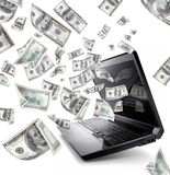 Laptop with 100 Dollars Stock Images