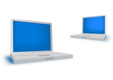 Laptop. 2 Realistic grey laptop isolated on background. Vector illustration Stock Image