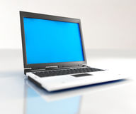 Laptop. A black and white laptop isolated on white Stock Photography