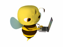 Laptop. The bee works behind the laptop vector illustration