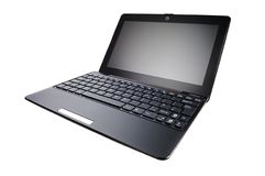 Laptop. Black laptop  on white background Royalty Free Stock Photos