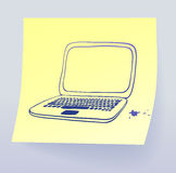 Laptop. Drawing on sticky paper Royalty Free Stock Photo