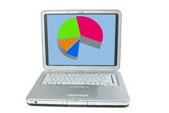 Laptop. With pie chart isolated on a white background royalty free stock photo
