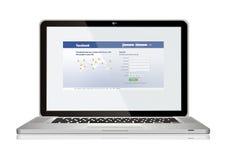 Laptop. With facebook web on screen Stock Photos