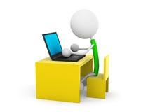 Laptop. 3d render illustration.Desk with laptop Royalty Free Stock Image