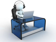 Laptop. 3d people - human character , person with headphone sitting at the table and working on a laptop computer. 3d render Royalty Free Stock Images