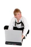 At the laptop Stock Image