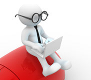 Laptop. 3d people - man, person with a laptop and a mouse Royalty Free Stock Photos