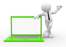Laptop. 3d people - man, person with laptop Royalty Free Stock Photography