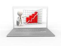 Laptop. 3d people - man, person with a laptop and showing growth progress graph chart Royalty Free Stock Image