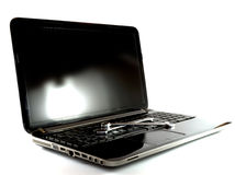 Laptop. Black laptop on white background royalty free stock photography