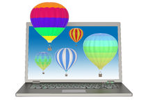 Laptop and 3D balloons Royalty Free Stock Photography