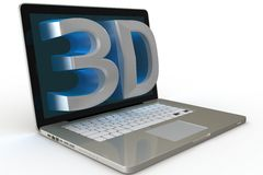 Laptop with 3d display Stock Photos