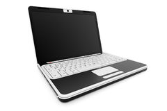 Laptop 3D render. Isolated black and white Royalty Free Stock Image