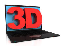 Laptop and 3D text Stock Images
